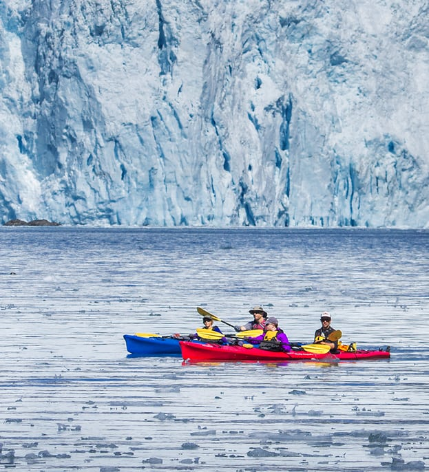 Sea Kayakers with Tidewater Glacier